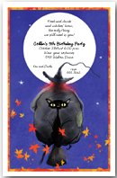 Witch & Cat Broomride Party Invitation